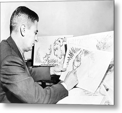 Ted Geisel Dr. Seuss 1904-1991 At Work Metal Print by Everett