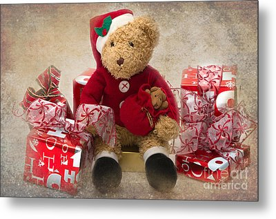 Teddy At Christmas Metal Print by Louise Heusinkveld