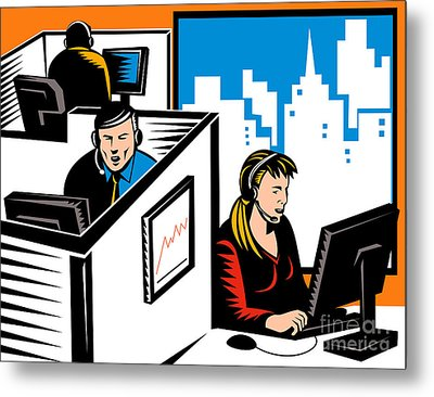 Telemarketer Office Worker Retro Metal Print by Aloysius Patrimonio