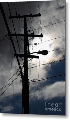 Telephone And Electric Wires And Pole In Abstract Silhouette . 7d13651 Metal Print by Wingsdomain Art and Photography