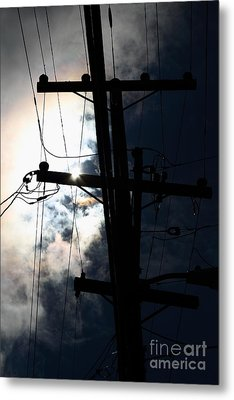 Telephone And Electric Wires And Pole In Silhouette . 7d13615 Metal Print by Wingsdomain Art and Photography