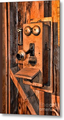 Telephone - Antique Hand Cranked Phone Metal Print by Paul Ward