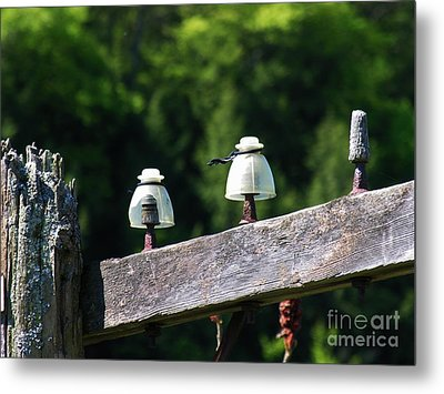 Metal Print featuring the photograph Telephone Pole And Insulators by Sherman Perry