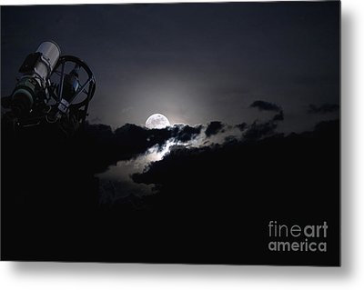 Telescope Pointed Out To The Night Sky Metal Print by Roth Ritter