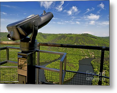 Telescope With View On Meander Of Queuille. Auvergne. France. Europe Metal Print by Bernard Jaubert