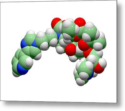 Telithromycin Antibiotic Molecule Metal Print by Dr Tim Evans