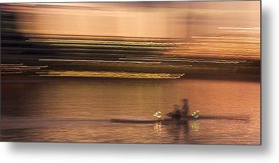 Tempe Town Lake Rowers Abstract Metal Print by Dave Dilli