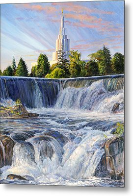Temple And The Falls Metal Print by Steve Spencer