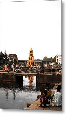 temple and the river in India Metal Print by Sumit Mehndiratta