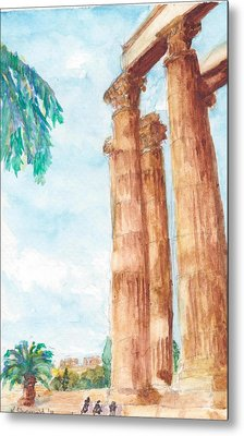 Temple Of Zeus In Athens Greece Metal Print by Katherine Shemeld