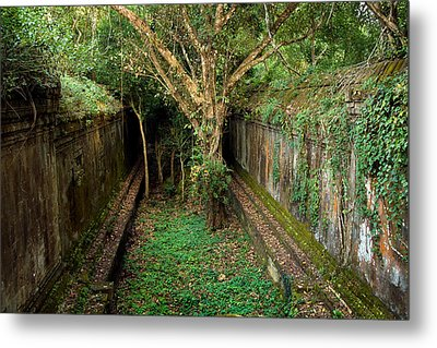 Temple Overgrown By The Jungle Metal Print by Artur Bogacki
