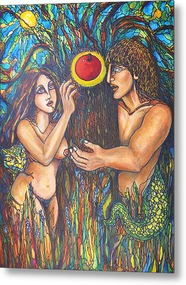Temptation Of Adam And Eve  Metal Print by Rae Chichilnitsky