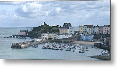 Metal Print featuring the photograph Tenby Harbour Pembrokeshire Panorama by Steve Purnell