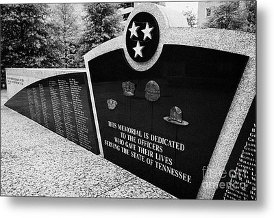 tennessee state police officer memorial war memorial plaza Nashville Tennessee USA Metal Print by Joe Fox