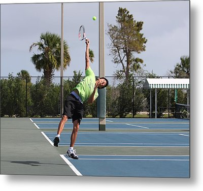 Tennis Serve Metal Print by Jeanne Andrews