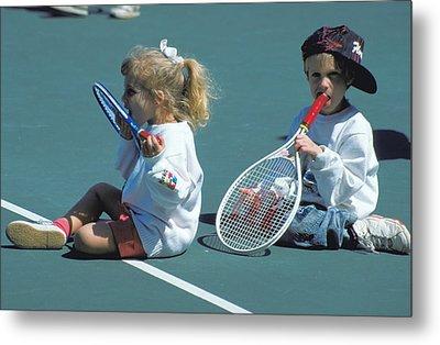 Tennis Tots At Wimbledon Metal Print by Carl Purcell