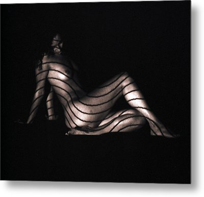 Terri Sitting Up Lines Metal Print
