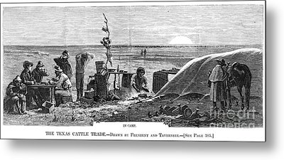 Texas Cattle Trade, 1874 Metal Print by Granger