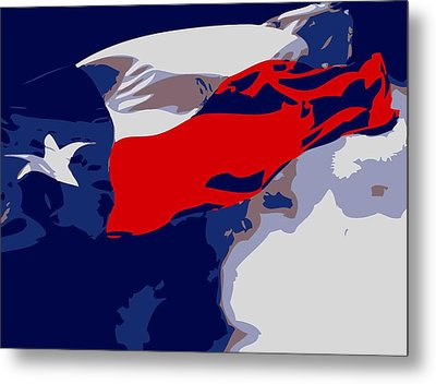 Texas Flag In The Wind Color 6 Metal Print by Scott Kelley