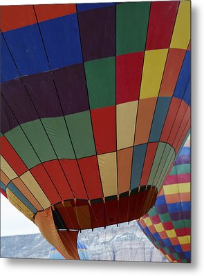Texture Two Hot Air Balloons Metal Print by Kantilal Patel