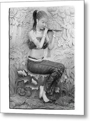Thai Style Bas-relief Decorated On  Wall  Metal Print by Phalakon Jaisangat