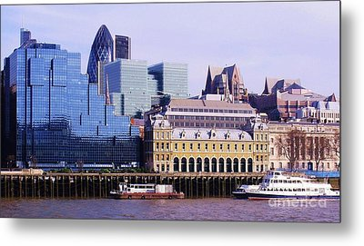 Thames And Financial District - London Metal Print by John Clark