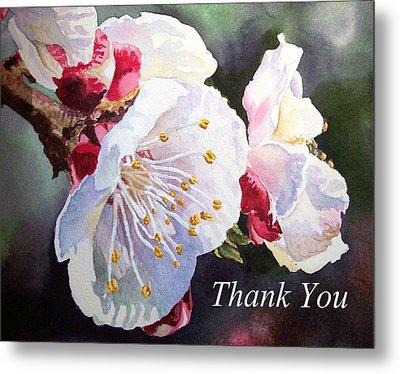 Thank You Card Apricot Blossom Metal Print