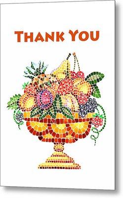 Thank You Card Fruit Vase Metal Print by Irina Sztukowski
