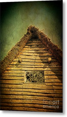 Thatched Cottage And Leaded Window Metal Print by Jill Battaglia