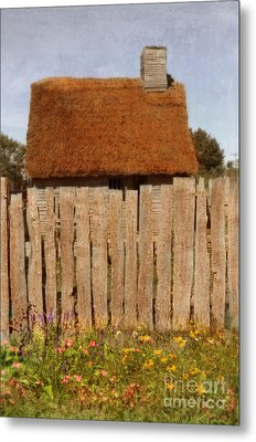 Thatched Cottage Behind Fence Metal Print by Jill Battaglia