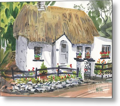 Thatched Roof Cottage Metal Print by Donald Maier