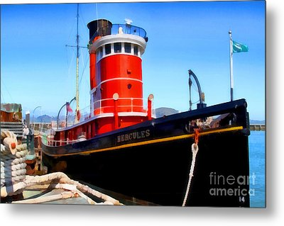 The 1907 Hercules Steam Tug Boat . 7d14141 Metal Print by Wingsdomain Art and Photography