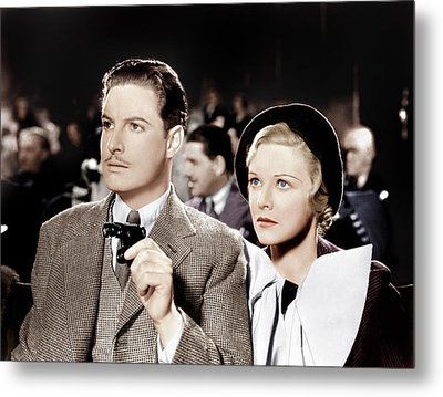 The 39 Steps, From Left Robert Donat Metal Print by Everett