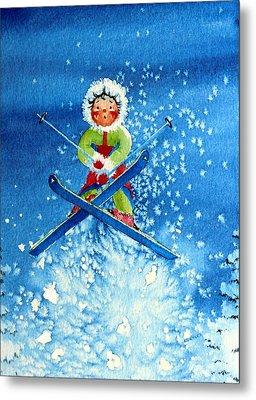 The Aerial Skier - 11 Metal Print by Hanne Lore Koehler