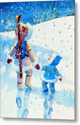 The Aerial Skier - 2 Metal Print by Hanne Lore Koehler