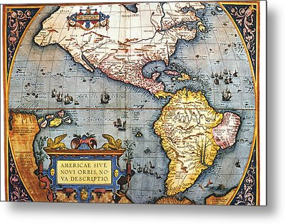 The Americas, 1587 Map By Abraham Ortelius Metal Print by Fototeca Storica Nazionale
