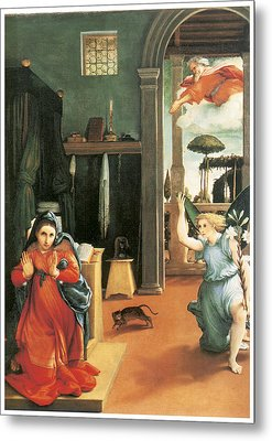 The Annunciation Metal Print by Lorenzo Lotto
