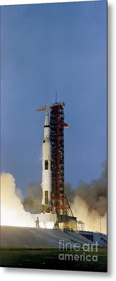 The Apollo 13 Space Vehicle Is Launched Metal Print