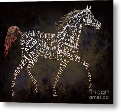 The Arabian Horse In Typography Metal Print by Ginny Luttrell