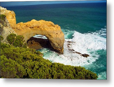 Metal Print featuring the photograph The Arch With Breaking Wave by Dennis Lundell