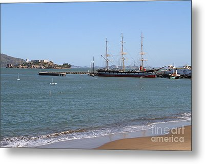 The Balclutha . A 1886 Square Rigged Cargo Ship At The Hyde Street Pier Overlooking Alcatraz.7d14068 Metal Print by Wingsdomain Art and Photography