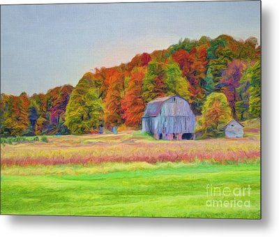 The Barn In Autumn Metal Print by Michael Garyet