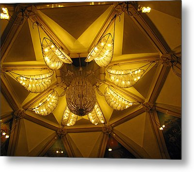 The Beautifully Lit Chandelier On The Ceiling Of The Iskcon Temple In Delhi Metal Print by Ashish Agarwal