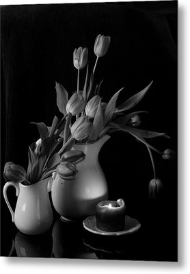 The Beauty Of Tulips In Black And White Metal Print by Sherry Hallemeier