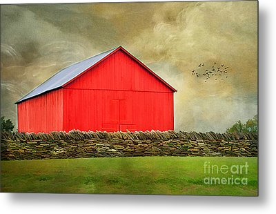 The Big Red Barn Metal Print by Darren Fisher