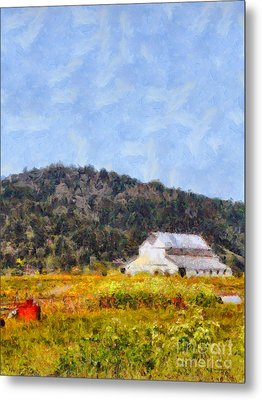 The Big White Barn At Point Reyes California . 7d15933 Metal Print by Wingsdomain Art and Photography