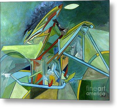 Cool Abstract Biker Print For Men Art Decor Gifts Metal Print by Marie Christine Belkadi