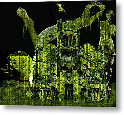 The Biomechanical Statue Garden Of Dr. Buttercup Metal Print by Laura Fedora