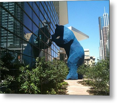 The Blue Bear Of Denver Colorado Metal Print by Shawn Hughes