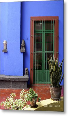 The Blue House Mexico City Metal Print by John  Mitchell
